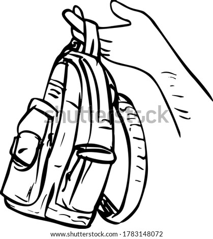 Hand Holding Giving Away a Knapsack Backpack Carry Bag or Bag Black and White Scratchboard Style  Stock photo © patrimonio