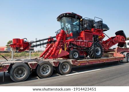 Red Farm machine cane harvester on Australian agriculture land Stock photo © sherjaca