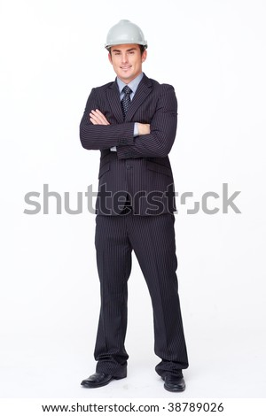 Man in a suit with safety helmet and plans against white background stock photo © wavebreak_media