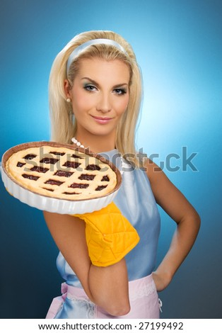beautiful woman holding hot italian pie retro stylized portrait stock photo © nejron