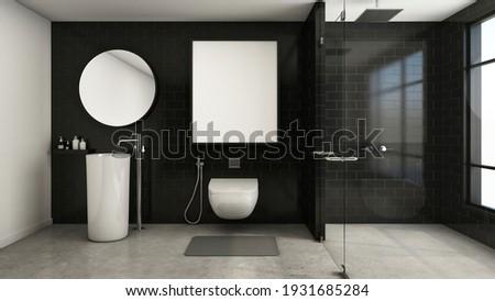Padlás hálószoba klasszikus belső téglafal fürdőkád Stock fotó © vizarch