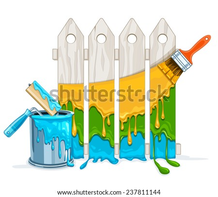 White fence painting maintenance by colour paint by brush roller with full bucket Stock photo © LoopAll