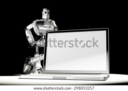 robot with blank screen laptop image containc lipping path of laptop screen and entire scene stock photo © kirill_m