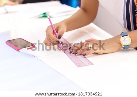 Travail modernes designer souverain blueprints ordinateur Photo stock © deandrobot