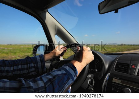 Driving car through countryside view through vehicle front winds Stock photo © stevanovicigor