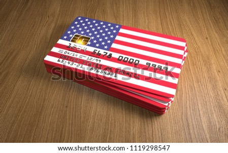 Credit card with United States flag background for bank, presentations and business. Isolated on whi Stock photo © tkacchuk
