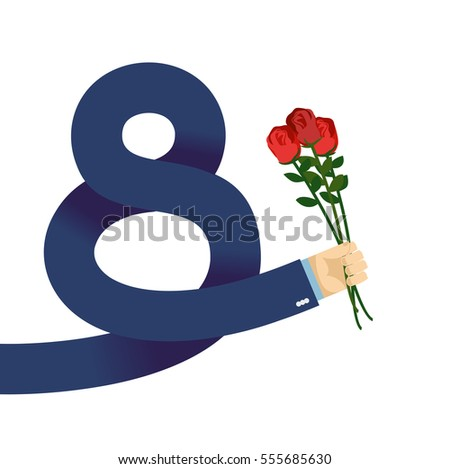 8 March International Womens Day. Man hand in jacket gives roses Stock photo © popaukropa