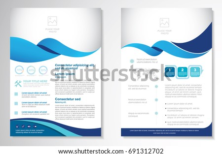 company business brochure template design with blue wave, annual Stock photo © SArts