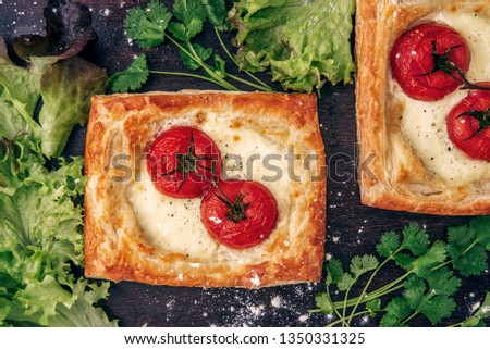 Stock photo: Fragrant toasts from black bread with cheese parmesan and white