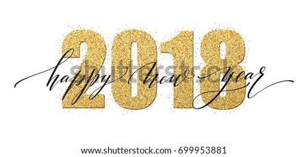 2018 Happy New Year Illustration with Gold 3d Number, Light Garland and Ornamental Ball on White Bac Stock photo © articular