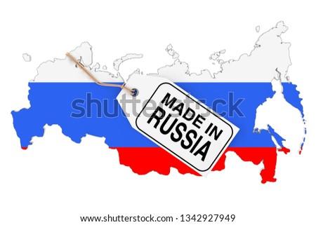 Rusia ruso mapa bandera 3D Foto stock © Wetzkaz