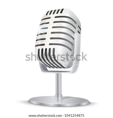 vintage · srebrny · studio · mikrofon · 3D · wektora - zdjęcia stock © Makstorm