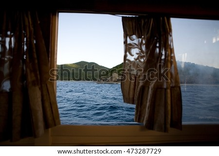 Ansicht Boot Fenster Virgin Islands Hügel Stock foto © IS2