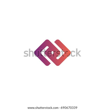 abstract infinity block chain cube logo element concept. square purple gradient color. vector illust Stock photo © taufik_al_amin
