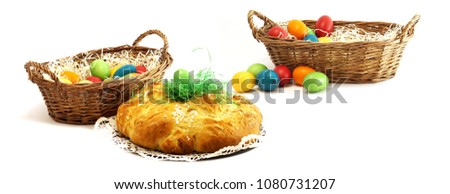 self made homemade easter eggs with easter challah and easter ba stock photo © wetzkaz