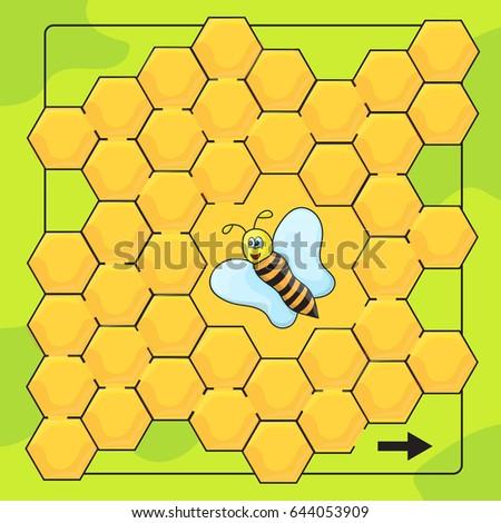 Bee honingraat spel kinderen helpen Stockfoto © Natali_Brill