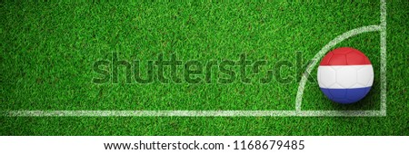 Football in holland colours  against close up view of astro turf Stock photo © wavebreak_media