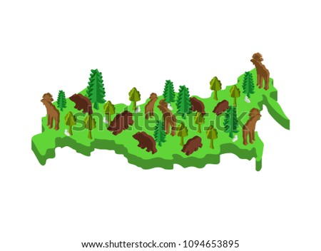 Russia Isometric Map Animal and plants. flora and fauna on mainl Stock photo © popaukropa