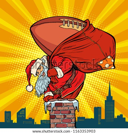 American football ball. Santa Claus with gifts climbs into the c Stock photo © studiostoks