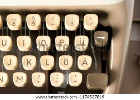 Retro typewriter in studio. Macro close up. Stock photo © bezikus