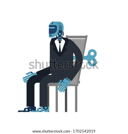 Cyborg businessman Clockwork key. Robot office. Artificial Intel Stock photo © MaryValery