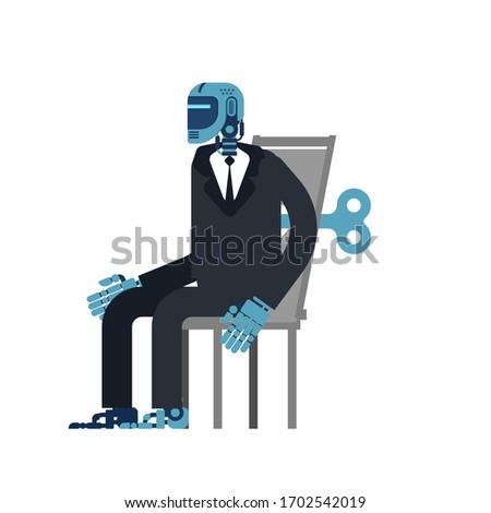 kiborg · üzletember · iroda · robot · mesterséges · intelligencia · vektor - stock fotó © maryvalery