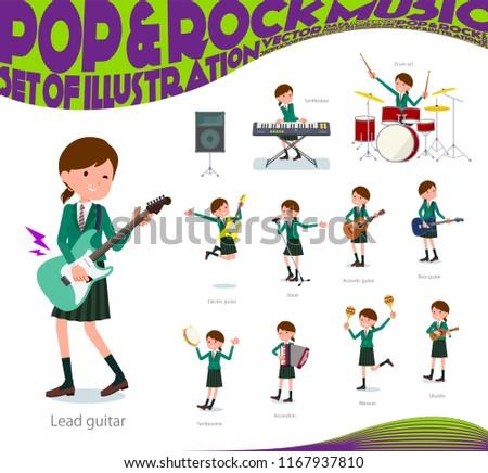 Iskolás lány zöld zene szett játszik kő Stock fotó © toyotoyo