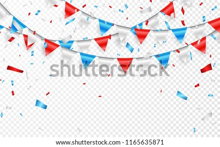 Garlands of red white blue flags. Blue, white and red foil confetti. Vector illustration Stock photo © olehsvetiukha