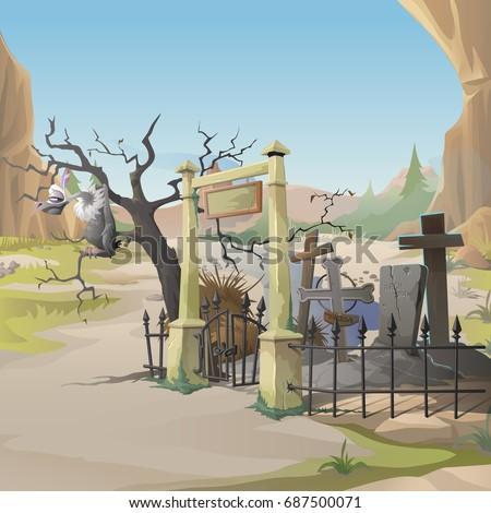 Sęp grobu krzyż starych cmentarz zmierzch Zdjęcia stock © Lady-Luck
