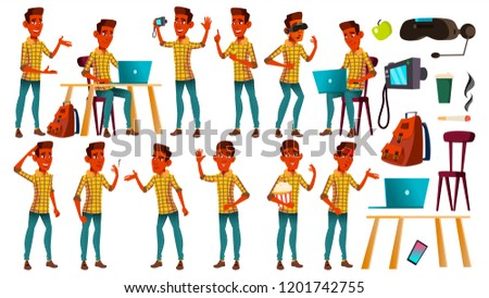 Teen Boy Poses Set Vector. Indian, Hindu. Asian. Adult People. Casual. For Advertisement, Greeting,  Stock photo © pikepicture