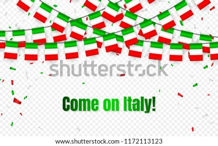 Italy garland flag with confetti on transparent background, Hang bunting for celebration template ba stock photo © olehsvetiukha