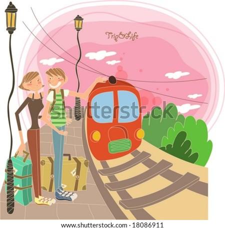 Vonat utazó vektor piros jármű gyönyörű Stock fotó © frimufilms