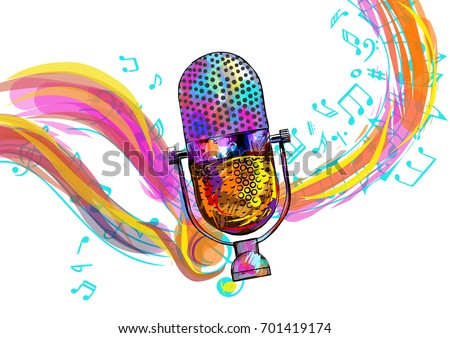 Microphone isolated on white background with notes. vector illus Stock photo © kyryloff