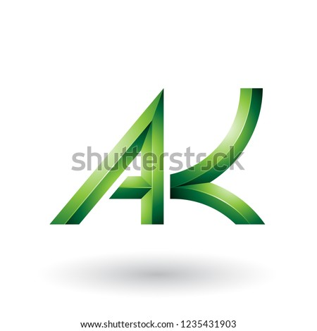 Green Bold and Curvy Geometrical Letters A and K Vector Illustra Stock photo © cidepix