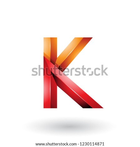 Orange and Red Glossy 3d Geometrical Letter K Vector Illustratio Stock photo © cidepix