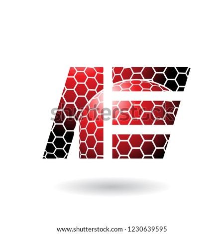 Red Dual Letters of A and E with Honeycomb Pattern Vector Illust Stock photo © cidepix