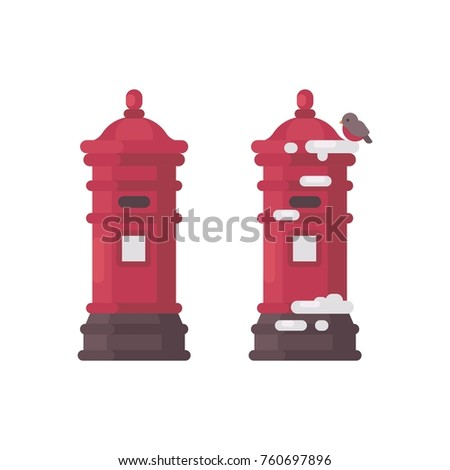 Two red vintage mailboxes with snow. Old postboxes waiting for l Stock photo © IvanDubovik