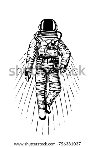 Stock photo: Vintage hand drawn astronaut helmet to space travel with custom texts - space and stars. Stock emble