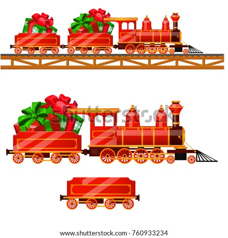 Little red train with wagons by rail carries boxes with Christmas gifts isolated on a white backgrou Stock photo © Lady-Luck