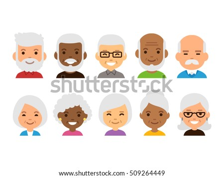 Asian Old Man Set Vector. Elderly People. Senior Person. Aged. Beautiful Retiree. Life. Card, Advert Stock photo © pikepicture