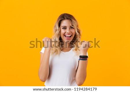 portret · verwonderd · jonge · toevallig · meisje · schreeuwen - stockfoto © deandrobot