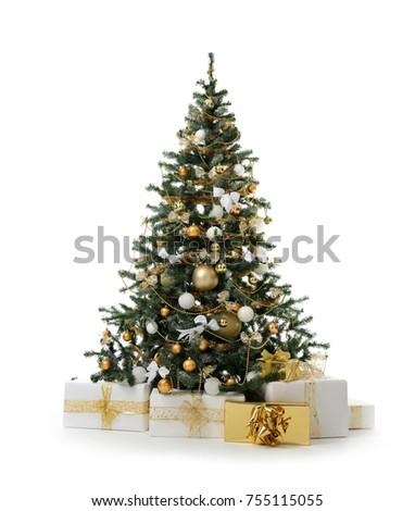 Karácsonyfa színes golyók csillag játékok izolált Stock fotó © Lady-Luck
