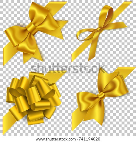 Realistic golden, yellow bow. Element for decoration gifts, greetings, holidays. Vector illustration stock photo © olehsvetiukha