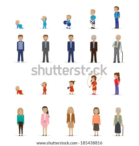 people of different generations and businessmen vector illustrations set stock photo © rastudio