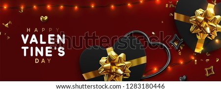 Happy Valentines Day Golden glitter sparkle. Red gift box with a gold bow and ribbon top view. Eleme Stock photo © olehsvetiukha