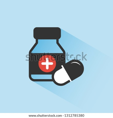 Medicine bottle and pills color icon with shade on a blue background Stock photo © Imaagio