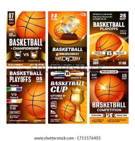 basketball game award vector basketball ball golden cup modern tournament design element for spo stock photo © pikepicture