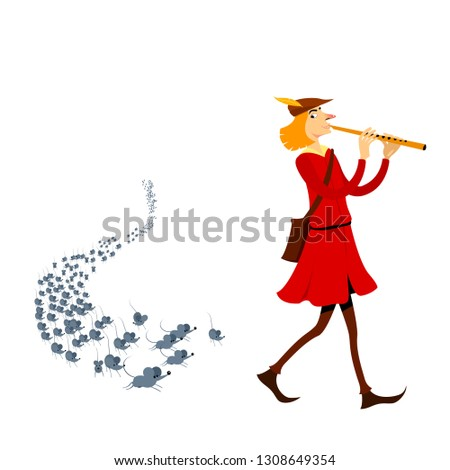 Black flute isolated on white background. Vector cartoon close-up illustration. Stock photo © Lady-Luck