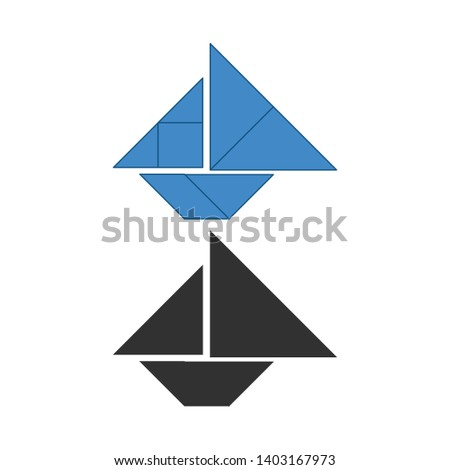 Boat Tangram. Traditional Chinese dissection puzzle, seven tiling pieces - geometric shapes: triangl Stock photo © kyryloff