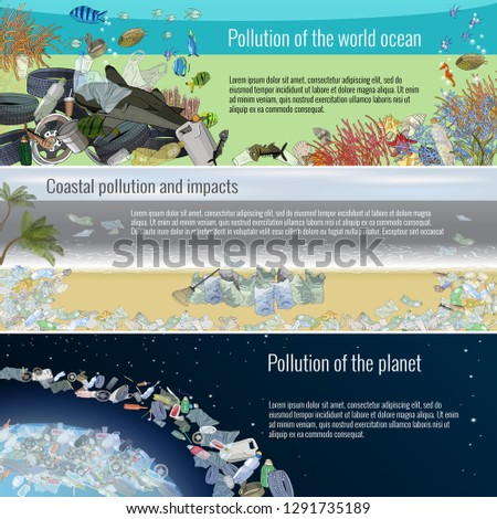 vector set of plastic objects stop pollution environmental protection save planet waste free pro foto d'archivio © user_10144511